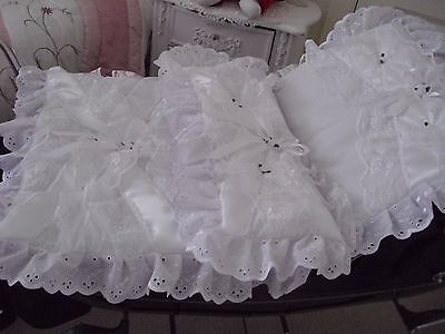 Dolls white coach built pram set with frothy lace and rose buds