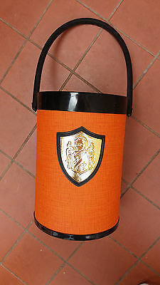 Vintage Ice Bucket Ice Less Bottle Bucket Gold Tone Industries WA - Orange/Black