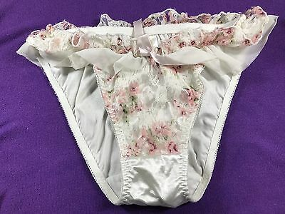 Vintage Japanese Brief Panties Nylon~polyester Knickers Panty Color White Ruffle