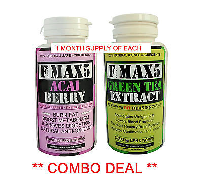 Acai Berry & Green Tea Fat Burners - Strong Slimming Weight Loss Diet Pills Bd35
