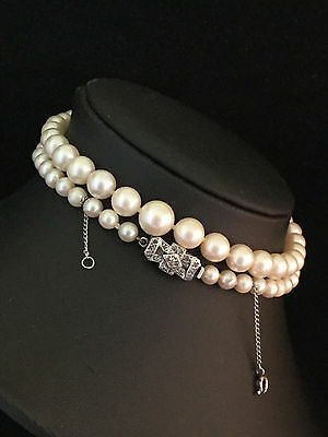 Art Deco Saltwater Cultured Akoya Pearl Necklace 9ct Diamond Clasp Length 21''