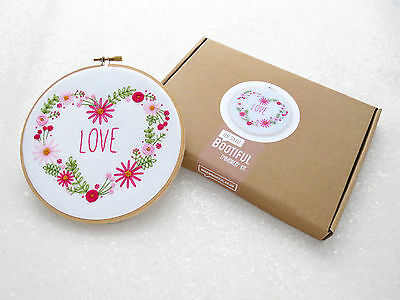 Love Heart Embroidery Kit, Pink Flowers Hand Embroidery Kit, Modern Needlework