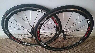 FFWD F4R carbon fibre wheelset - with new tyres, Shimano hub