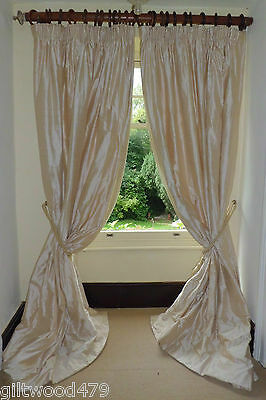 """8ft4""""x11ft  OPULENT FRENCH SILK IVORY  JAMES HARE SILK INTERLINED WOOL &LINED"""