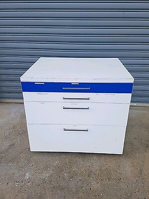 Desktop 4 Drawer Office Filing Storage Cabinet A3 white with wheels great bench