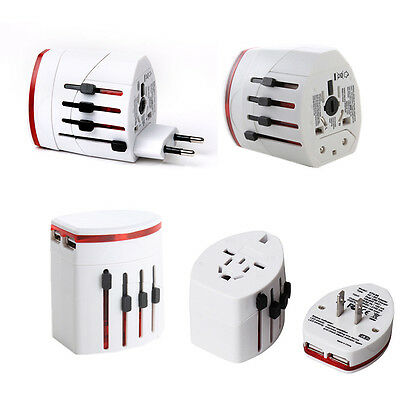 World Travel Adapter Universal Plug UK TO US AU EU Converter 2 USB Port Charger