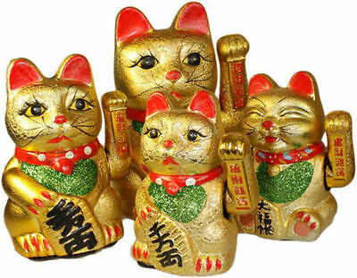 Maneki Neko Gold Waving Lucky Feng Shui Fortune Money Cat Chinese Paw CAT175