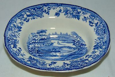 """Tonquin ROYAL CROWNFORD* IRONSTONE ENGLAND* BLUE CASTLE* 6"""" OVAL SOAP DISH*"""