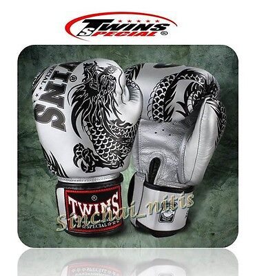 Twins Boxing Gloves Muay Thai Fbgv-49  Fancy Gray Dragon Pattern Genuine Leather