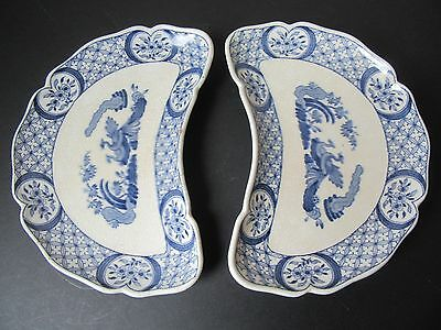2 Furnival blue and white Old Chelsea half-moon dishes