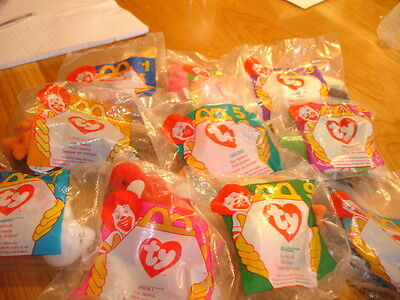 TY TEENIE BEANIES FULL USA  SET   OF 10  ISSUED MCDONALDS in USA 1997  MIP