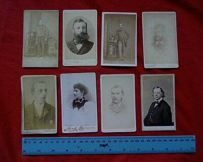 8 x 1880,s antique CDV Cabinet card photo Vintage Portrait Stuio photographs
