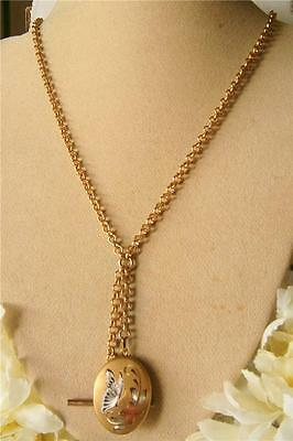 Antique Vintage 1950's 14Ct Gold Gf Butterfly Locket T/bar Watch Chain Necklace