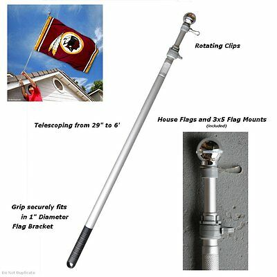6 Foot Flag Pole Aluminum Spinning Flagpole for Grommet or House Flag New
