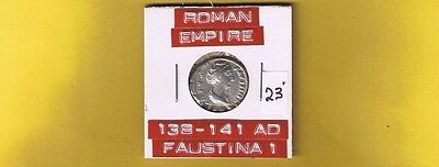 "Ancient Roman Empire coin of ""Faustina I""  138-141 AD.. Silver denarius.. RIC351"