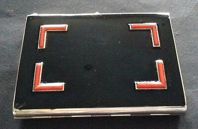 1930's Art Deco Sterling Silver Enamel Continental Import Cigarette Case