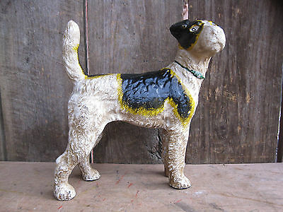 AWESOME ANTIQUE 1930's  HUBLEY CAST IRON AIREDALE TERRIER DOG