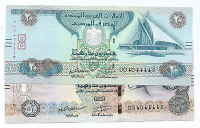 United Arab Emirates 20 and 50 Dirhams 2016 Both same special number 001011112