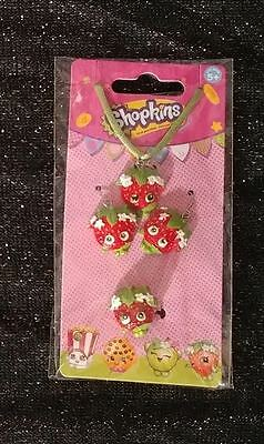 Shopkins Strawberry Kiss Necklace Earrings Ring Jewelry Set NEW Fastest Shipping