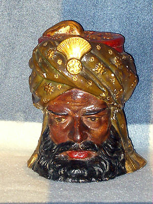 "HAND MADE VICTORIAN ARABIC HEAD TOBACCO JAR 6 1/4"" TALL EXCELLENT ANTIQUE c1870s"
