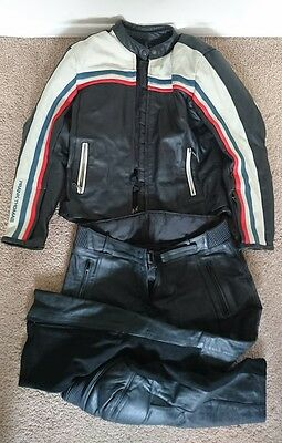 Frank Thomas Cafe Racer Leather Motorcycle Jacket and Trousers Ladies Size 14