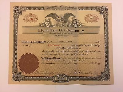 1923 Llewellyn Oil Company Stock Certificate Fort Worth, Texas Rare