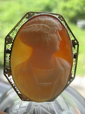 Fine Hand Carved Shell Cameo c 1920's Woman Solid 14k White Gold Mount