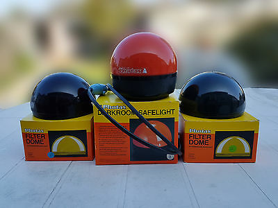 Photax Darkroom Safelight + 3 Dome Filters Red, Vf, & D.