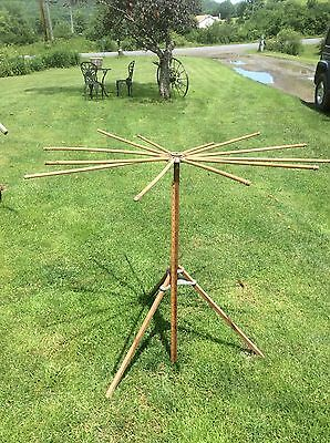 Antique Wood Folding Clothes Drying Rack , Spins , Collapsible, Country