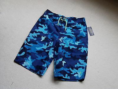 New Boys Ralph Lauren Polo Blue Mix Camouflage Knee Length Swim Shorts Trunks Xl