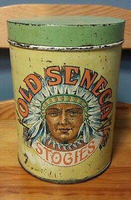 Rare VTG Old Seneca Stogies Cigar Tin Can Kildow Tiffin OH Indian Chief Graphic!