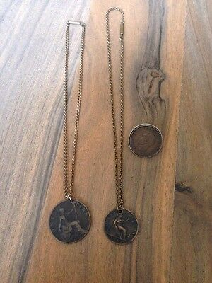 2 ANTIQUE VINTAGE PENNY COIN & HALF PENNY PENDANT NECKLACE 1862 & 1896 & a BADGE