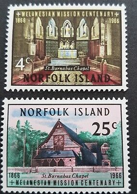 1966 Norfolk Islands Melanesian Mission Chapel Set Sc#97-98 Mnh V2