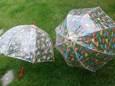Cath Kidston Children's x 2 Clear Birdcage Umbrella - Dino Stamps & Floral