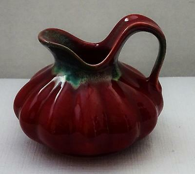 Vintage ROYAL GOUDA HOLLAND Art Pottery Rusty Red Pitcher Squat Gourd Shape