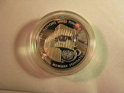 1995 United Nations 50Th Anniversary Luxembourg 100 Francs Silver Proof Coin Coa