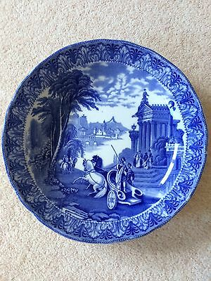 Cauldon Unusual Blue And White Chariot Design Large Dish
