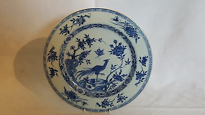 Chinese export vintage pre Victorian oriental antique blue peacock wall plate