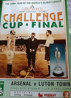 Arsenal V Luton Town 1988 Challenge Cup Final Programme