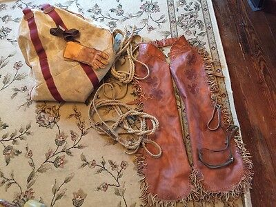 Vintage Rodeo Equipment Lot Leather Fringe Chaps Bull Rope Glove Bucking Bronco