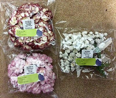 Bulk Lot of125 Handmade Mulberry Paper Flowers excellent quality bargain price