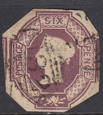 GB QV  Embossed Issue SG59 6d Lilac - 4 margins - used