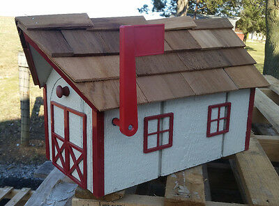 Amish Crafted Beige (Red Trim) Barn Style Mailbox - Lancaster County PA