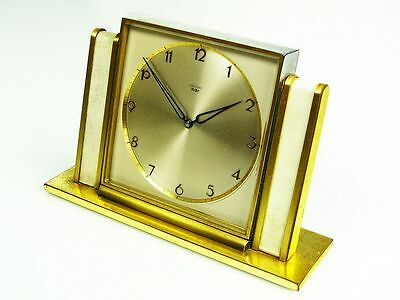 Big Beautiful Art Deco Design Desk Clock From Junghans Meister Germany