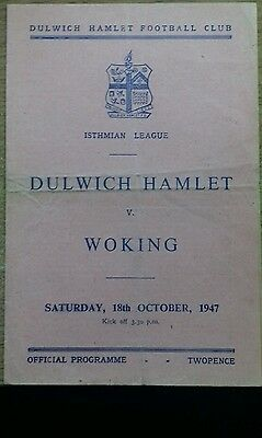 47/8 Dulwich V Woking   (Non League Football Programme)