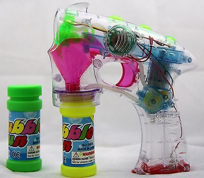 Bubble Gun Toy Children Boys Kid Party Flashing LED Lights Outdoors gift happy