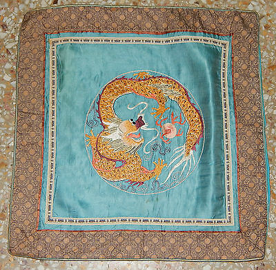 Antique Chinese Hand Embroidery Dragon Silk Wall Hanging Panel 40X40cm (X150)