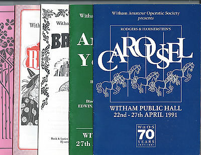 5 VINTAGE PROGRAMMES WITHAM AMATEUR OPERATIC SOCIETY 1990s