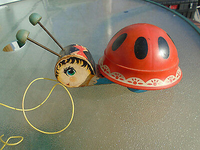 Vintage 1961 Fisher Price Wooden Lady Bug Pull Toy