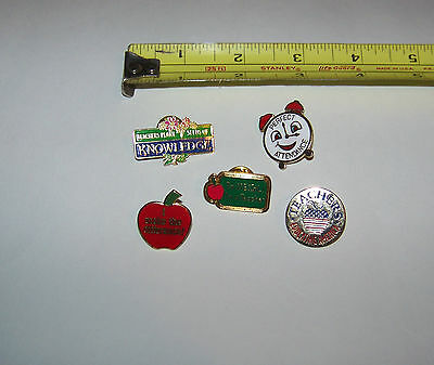 Mixed Lot Of Teacher Pins / Hat tacks  (5 different)